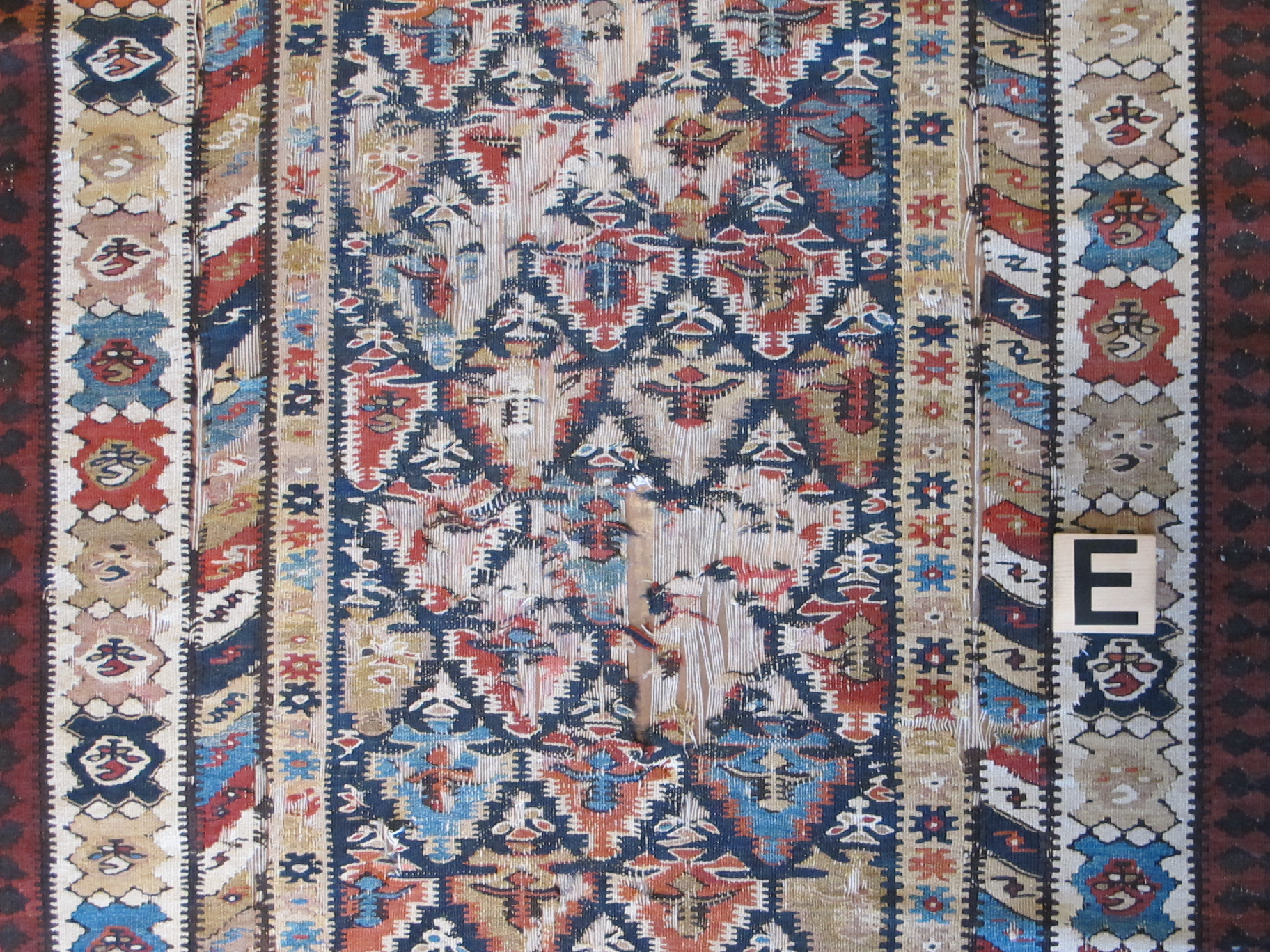Persian Seneh Kurd kelim hall runner 4' 5 x 15' 10-before repair (6)