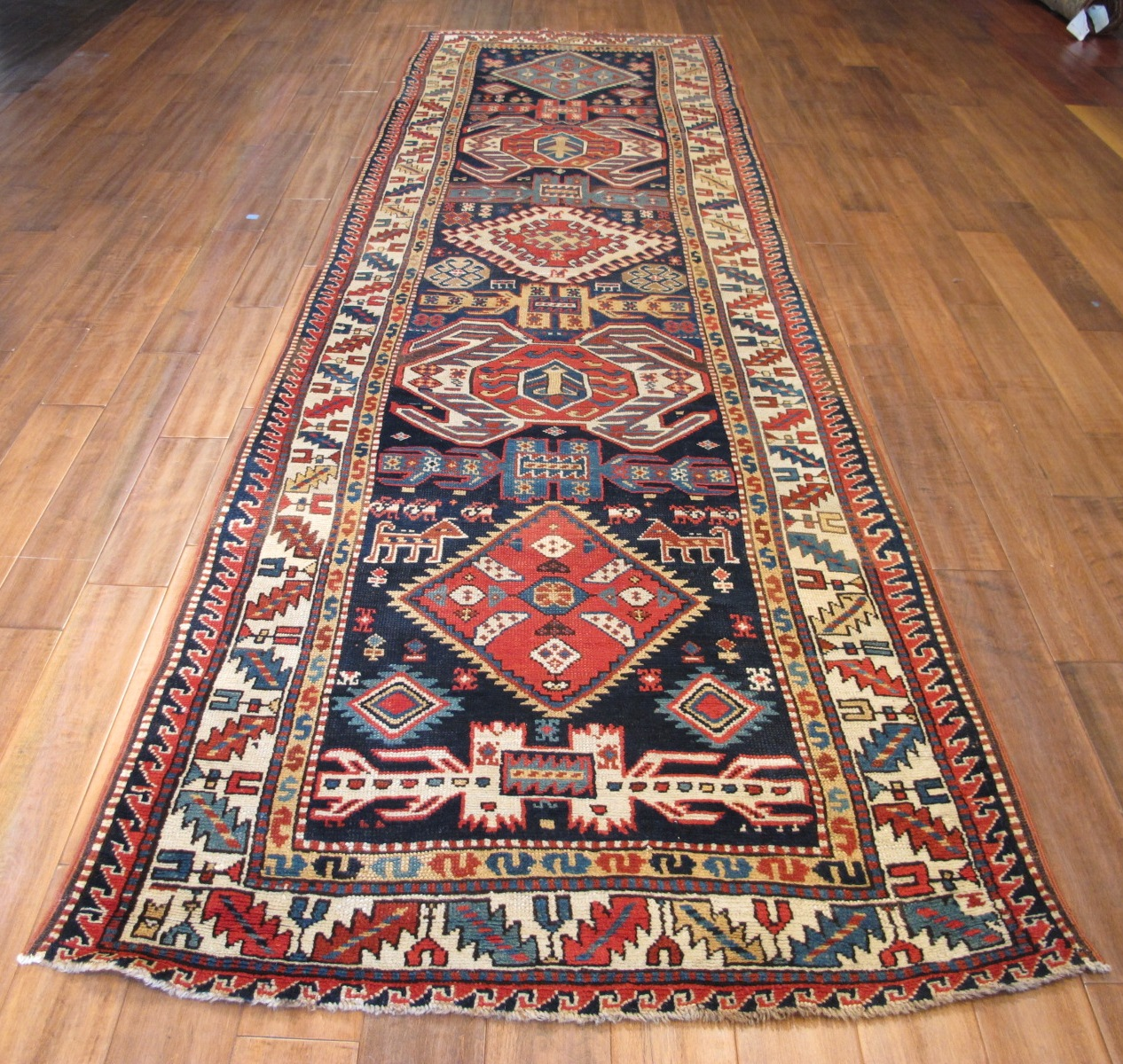 12455 antique Caucasian Lenkoran hall runner 3,5x12