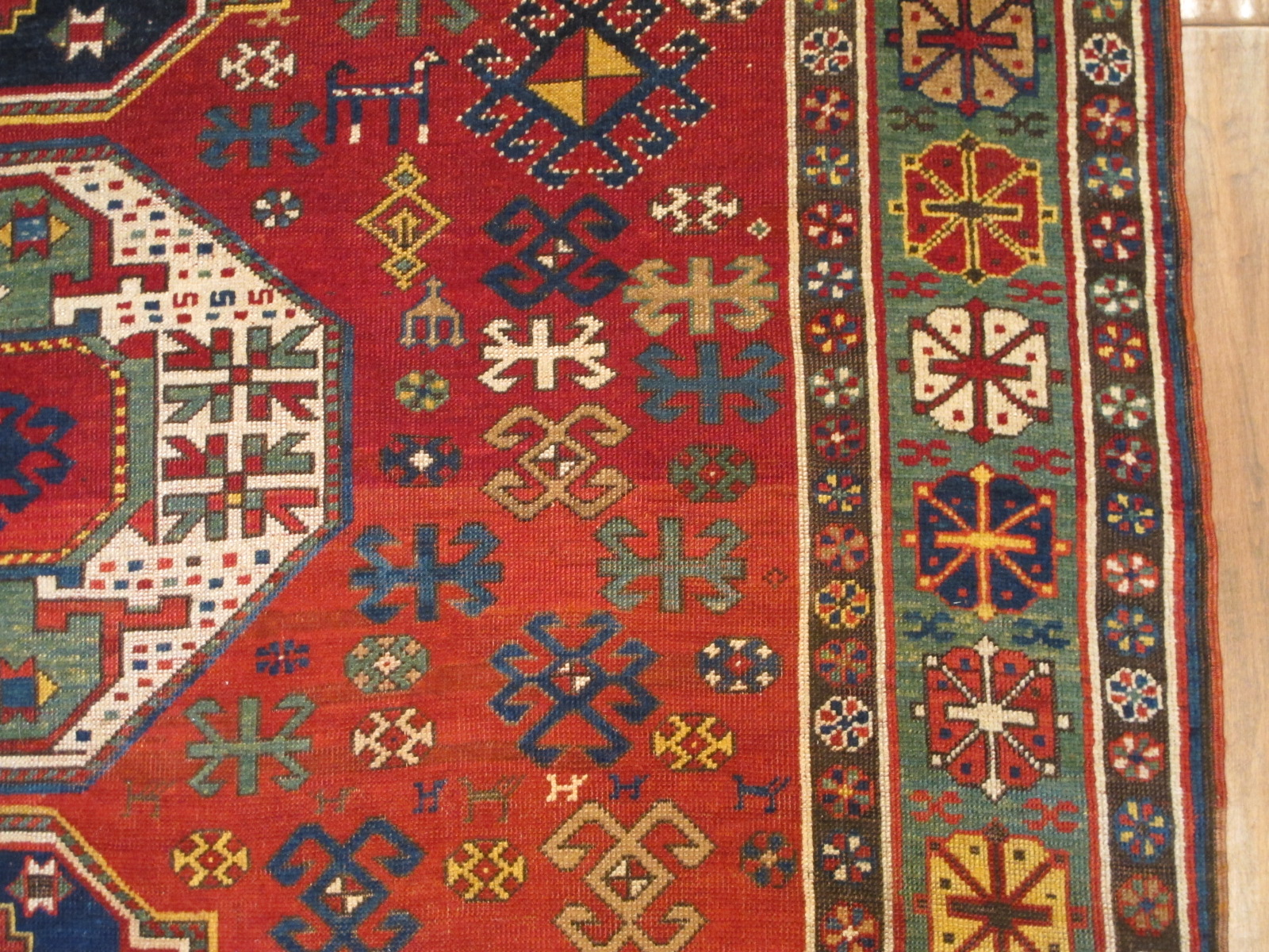 12989 antique Caucasian Kazak rug 6,2x11,4 (1)