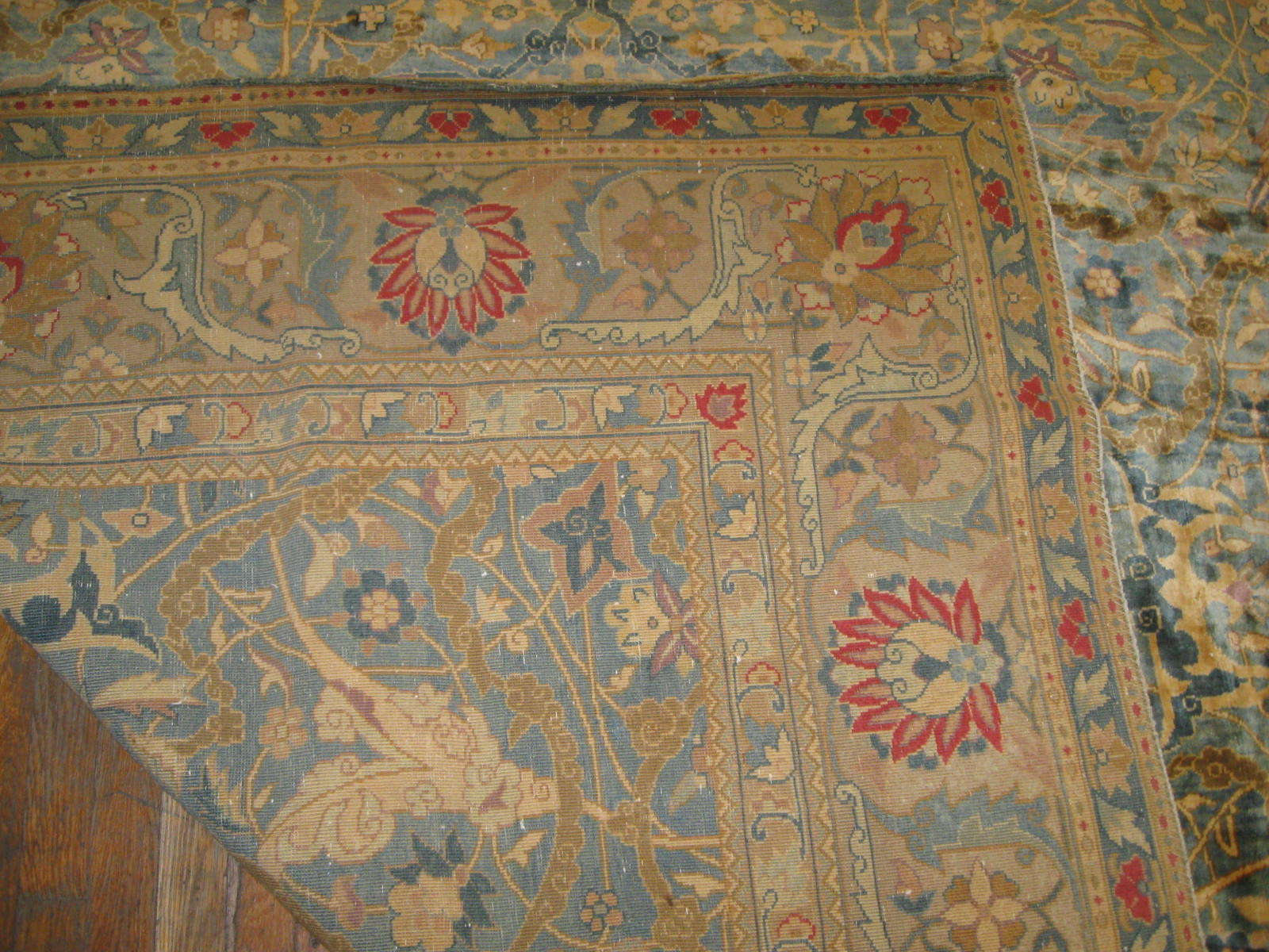 24263 antique Indo Tabriz carpet 22,6 x 23 (2)