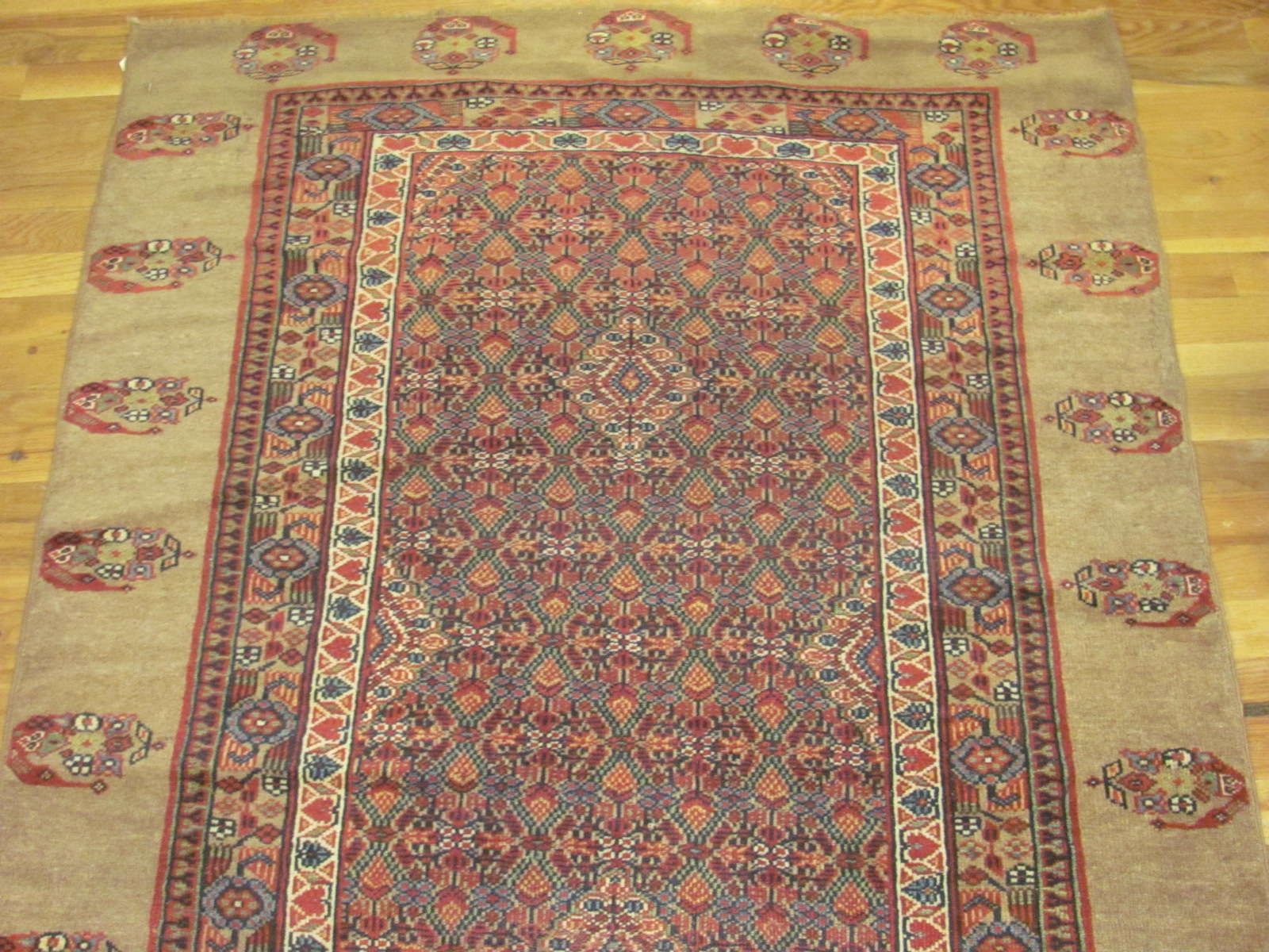 24279 antique Persian Hamadan camel hair hall runner 21,9x3,9 (2)