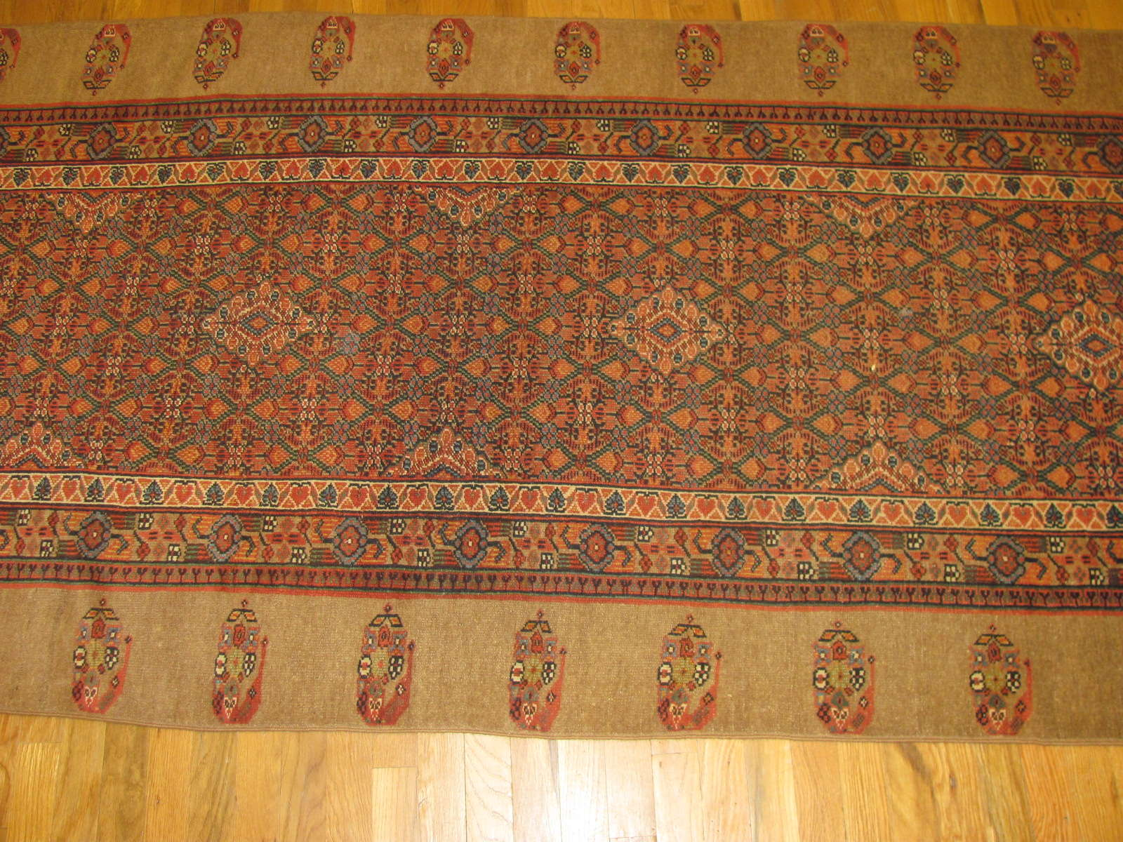 24279 antique Persian Hamadan camel hair hall runner 21,9x3,9 (3)