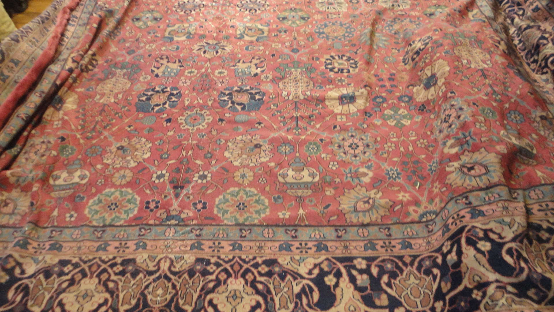 24299 antique Indo Tabriz carpet 17 x 18 (3)