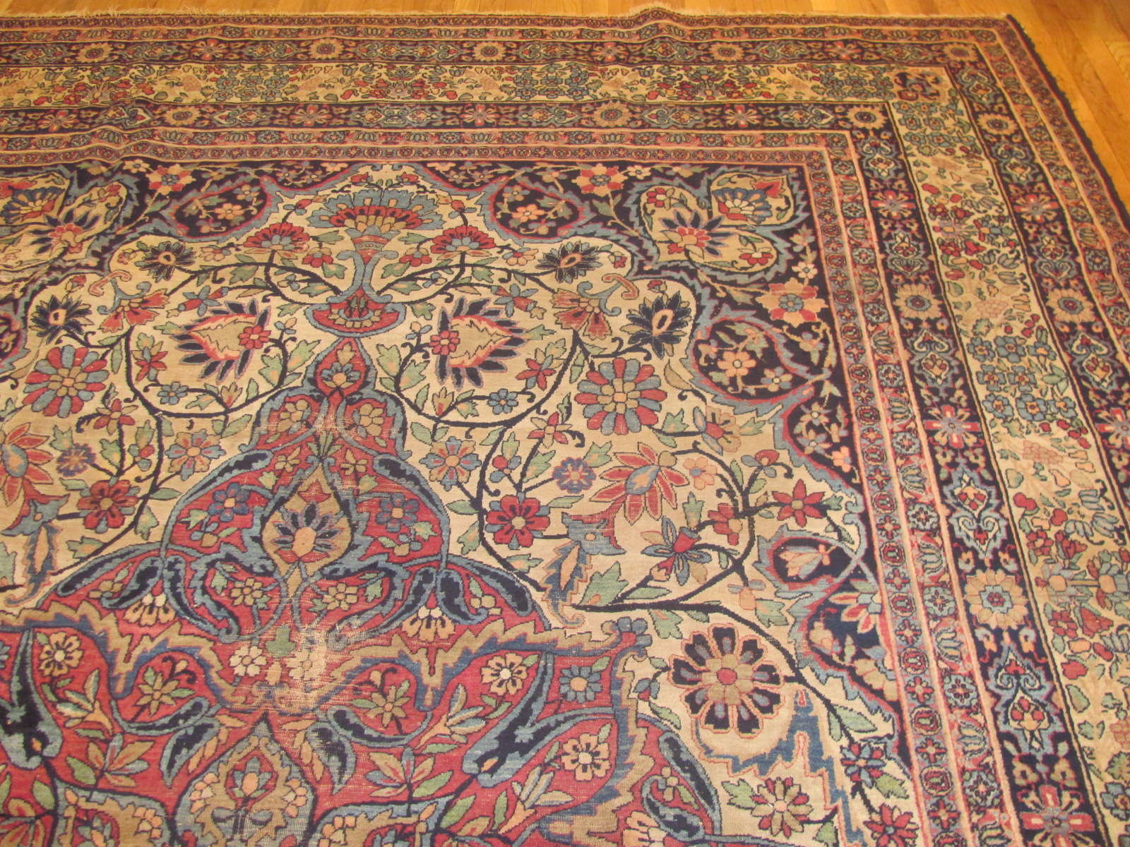 24376 Antique Persian Kerman Lavar 9,2 x 14 -1