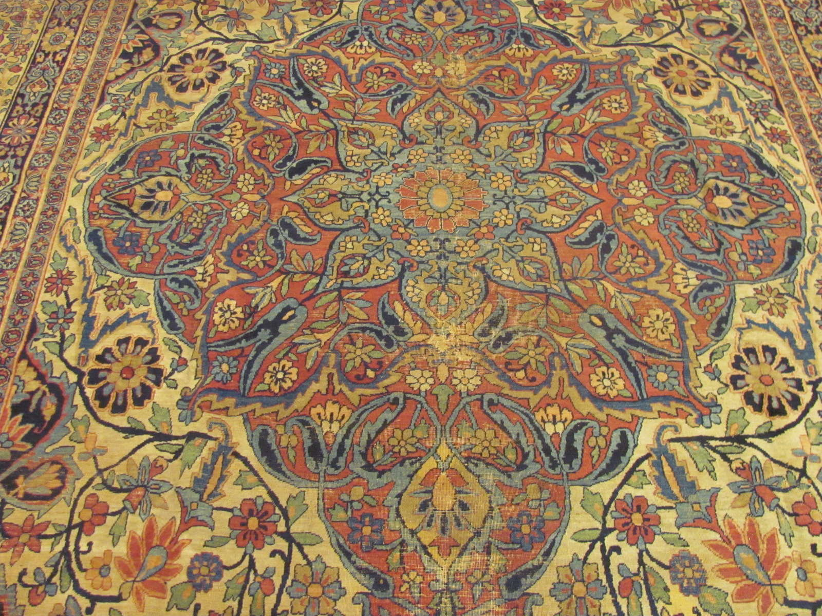 24376 Antique Persian Kerman Lavar 9,2 x 14 -2