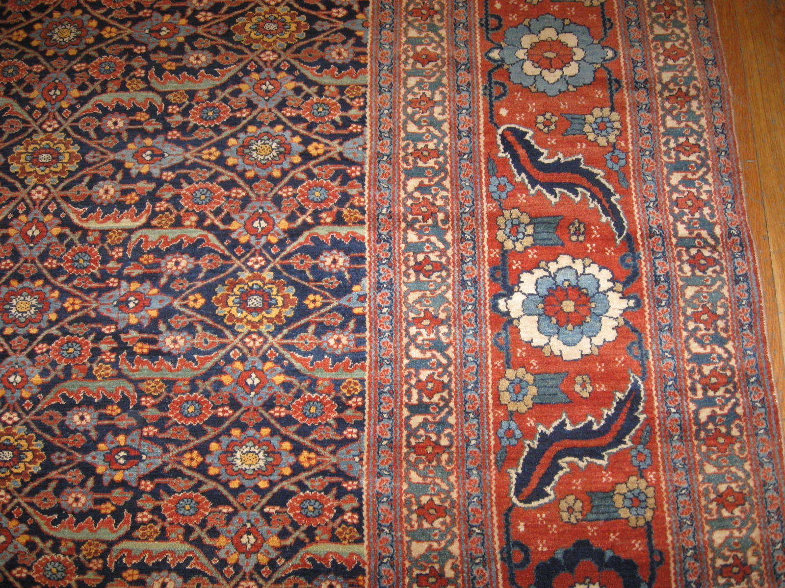 24286 antique Persian Tabriz Sennh baft 9,6 x 17,10 (2)