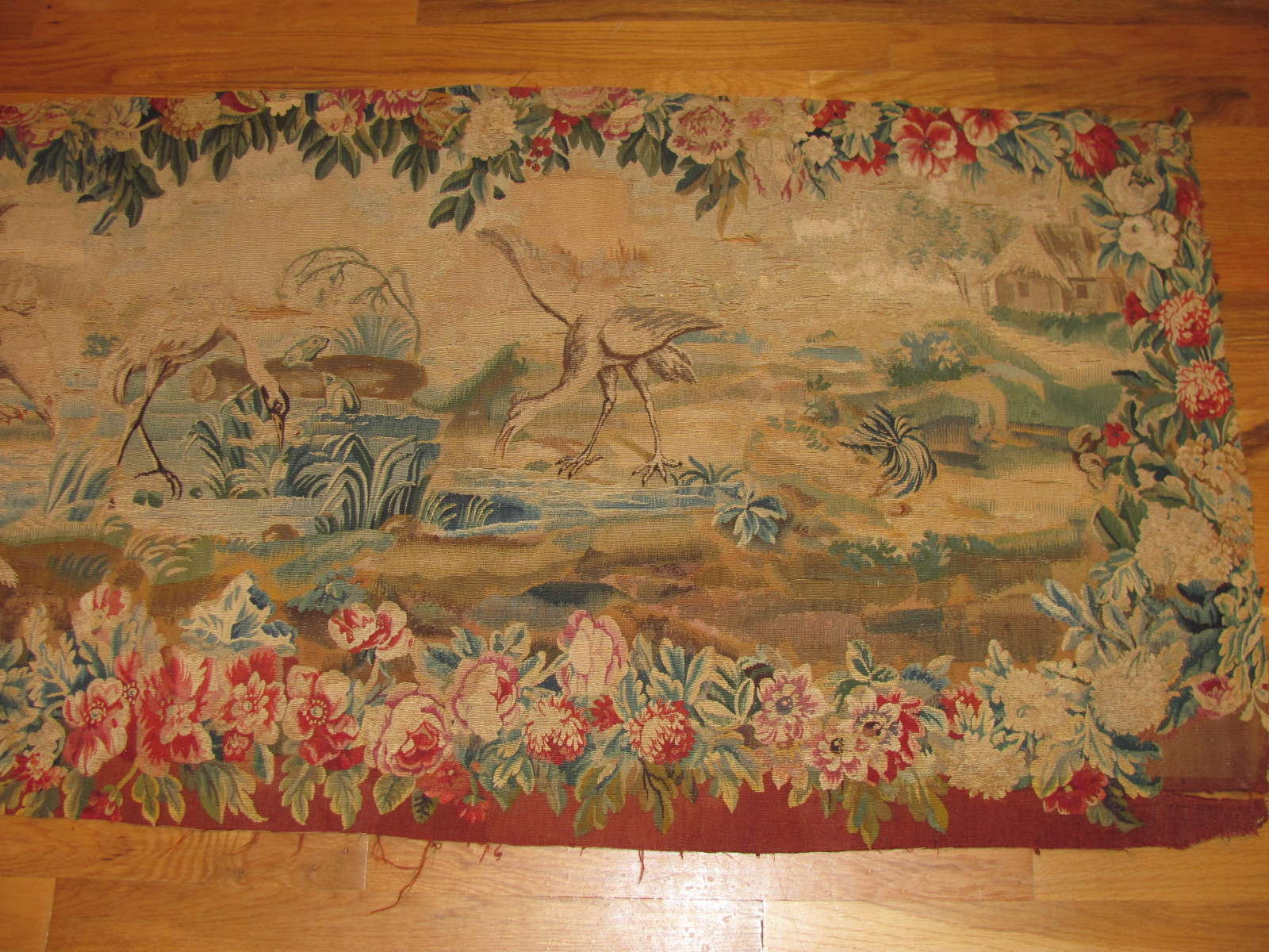 24692 antique french aubusson tapestry 2,4 x 5,7 -1