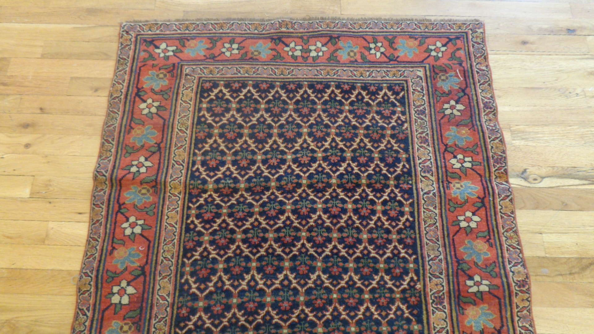 24744 antique persian bidjar runner 3.5x15.2-1