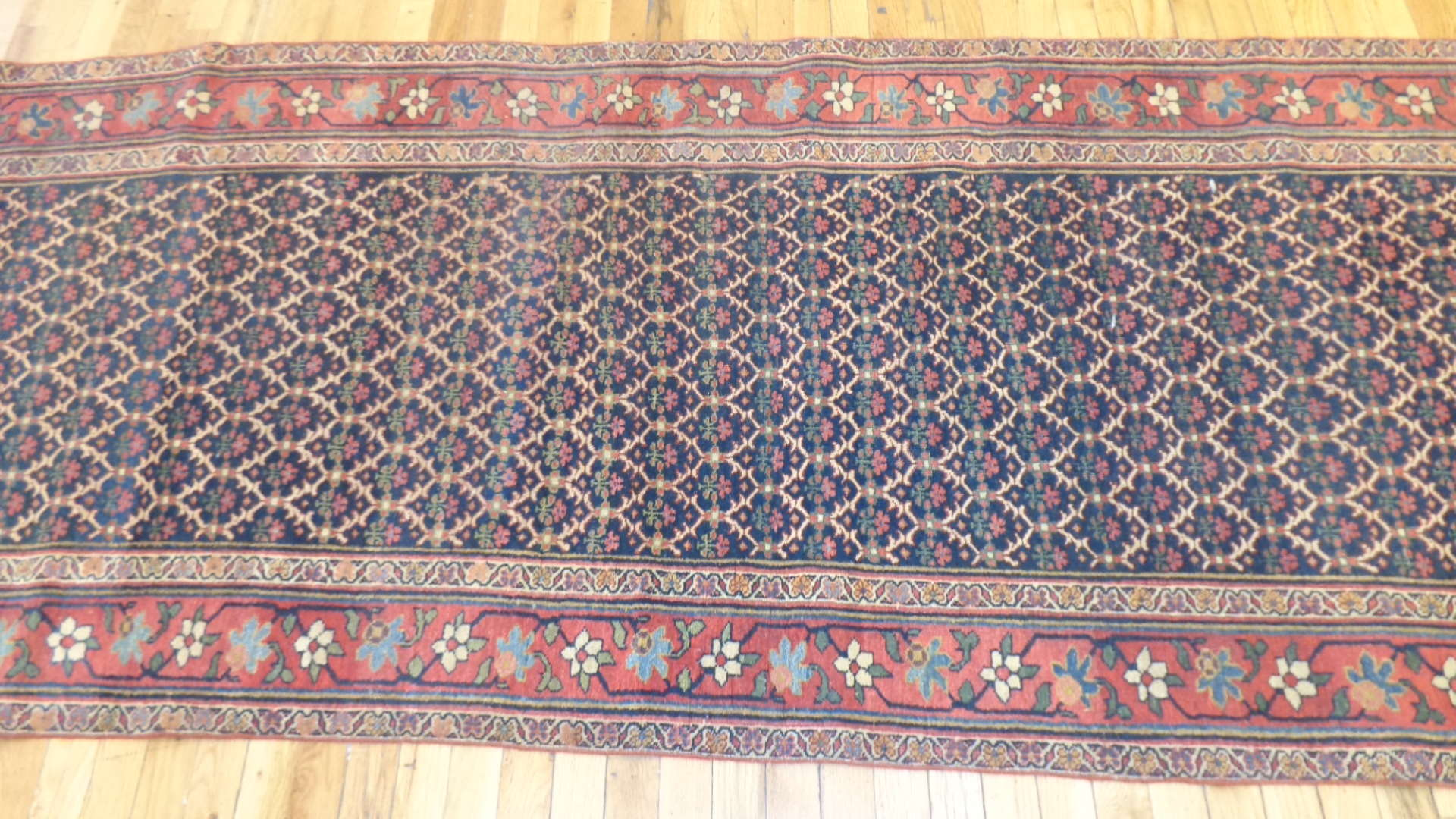 24744 antique persian bidjar runner 3.5x15.2-2