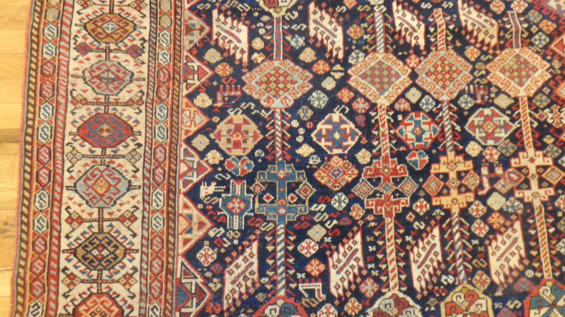 24748 antique persian qashqai rug 5.5x7.7-2