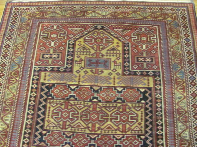 24794 antique caucasian shirvan rug 3,11 x4,9-1