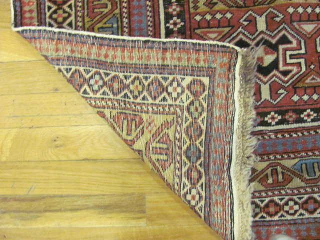 24794 antique caucasian shirvan rug 3,11 x4,9-3