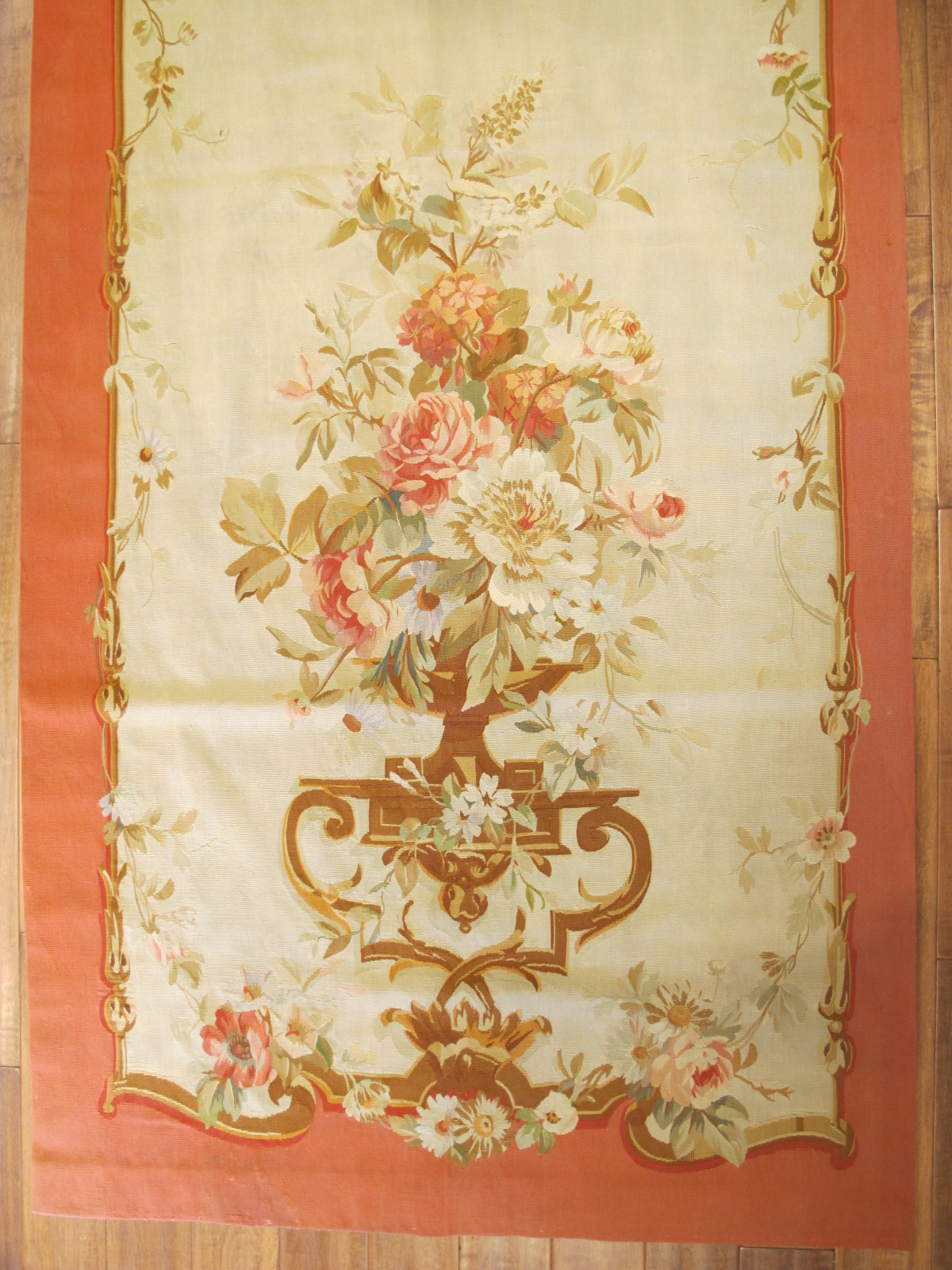 21454 Antique French Aubusson Entre Fenetre tapestry 4 x 9,10 (one of a pair) (3)