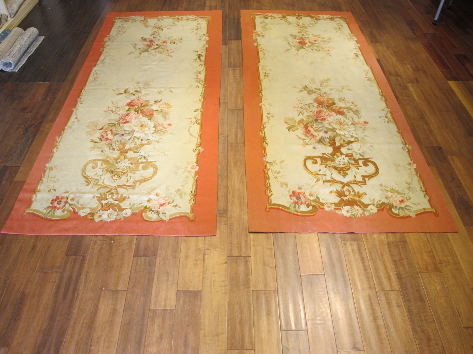 21455 Antique French Aubusson Entre Fenetre tapestry 4 x 9,10 (one of a pair) (1)