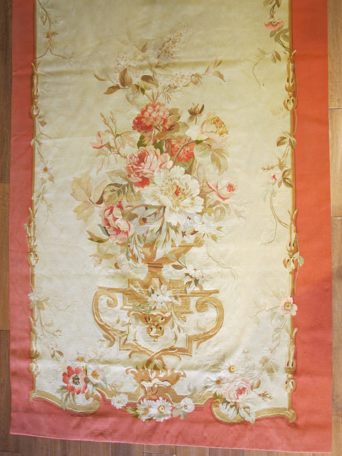 21455 Antique French Aubusson Entre Fenetre tapestry 4 x 9,10 (one of a pair) (3)