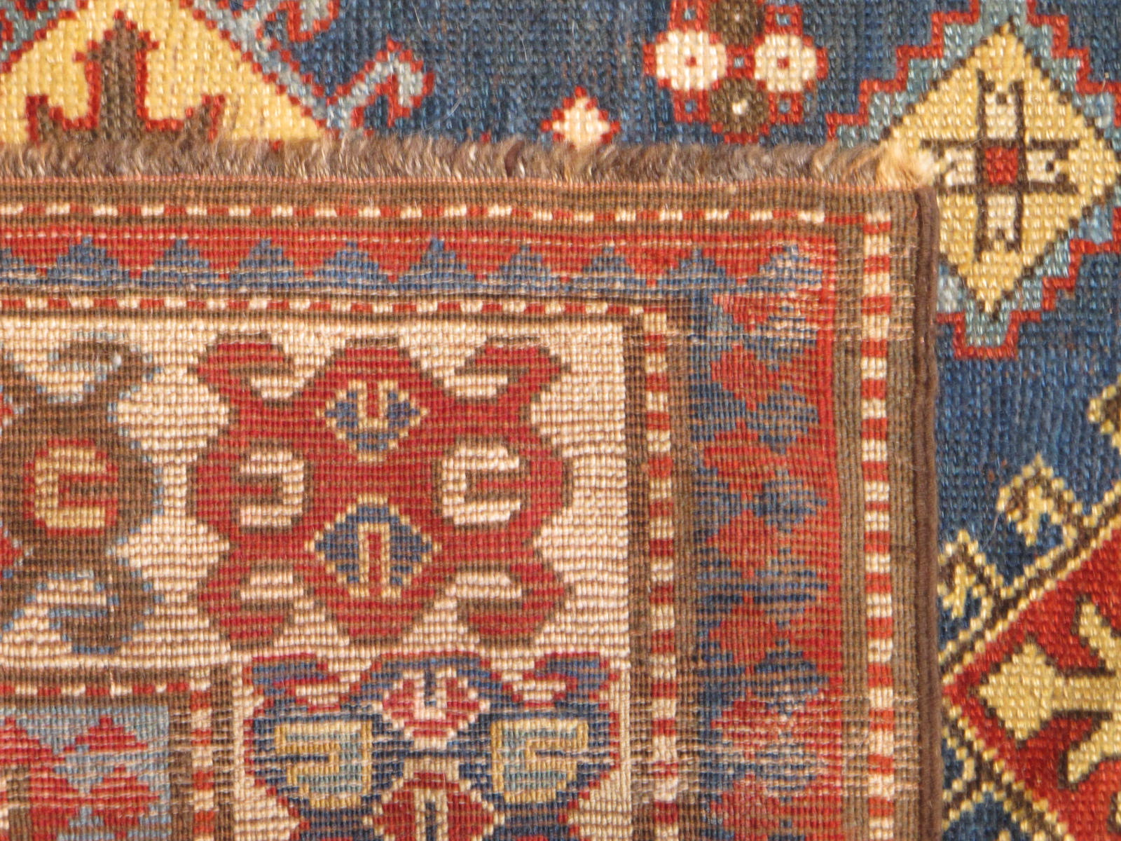 23186 antique caucasian genje rug 3,11x6,5 (4)