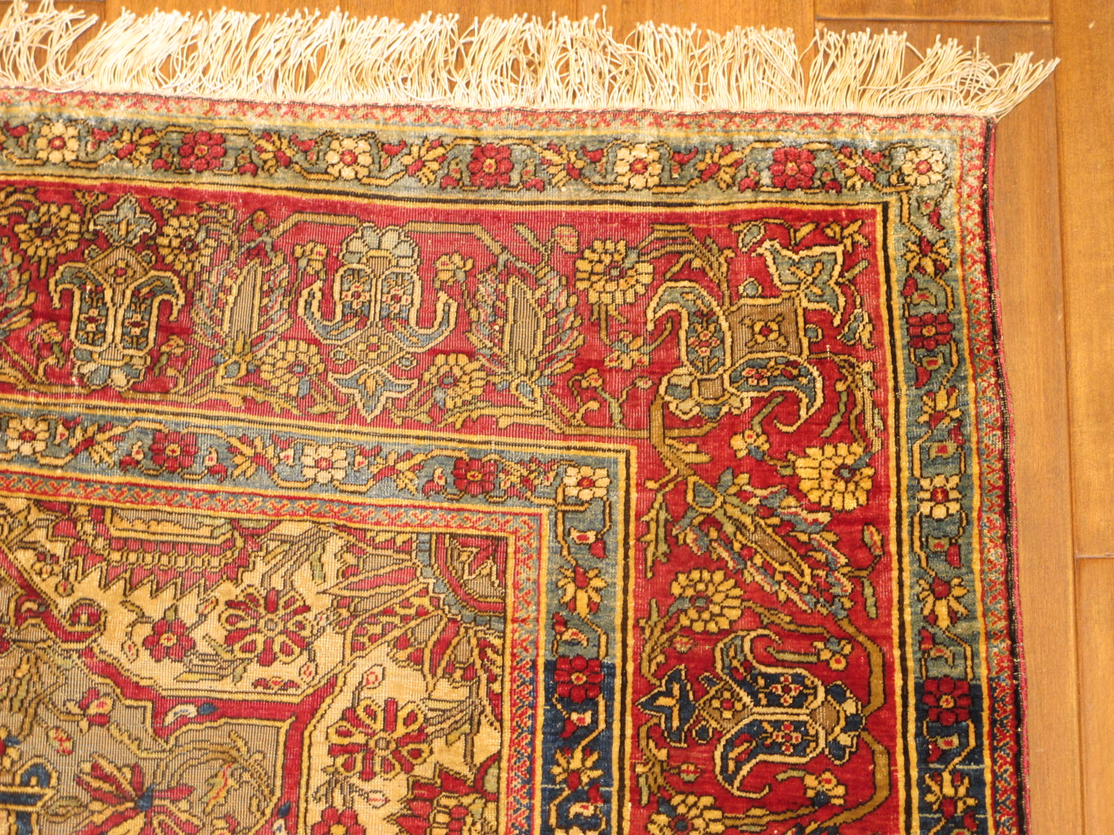 23206 antique persian kashan mohtasham silk rug 4,4 x 7,4 (2)