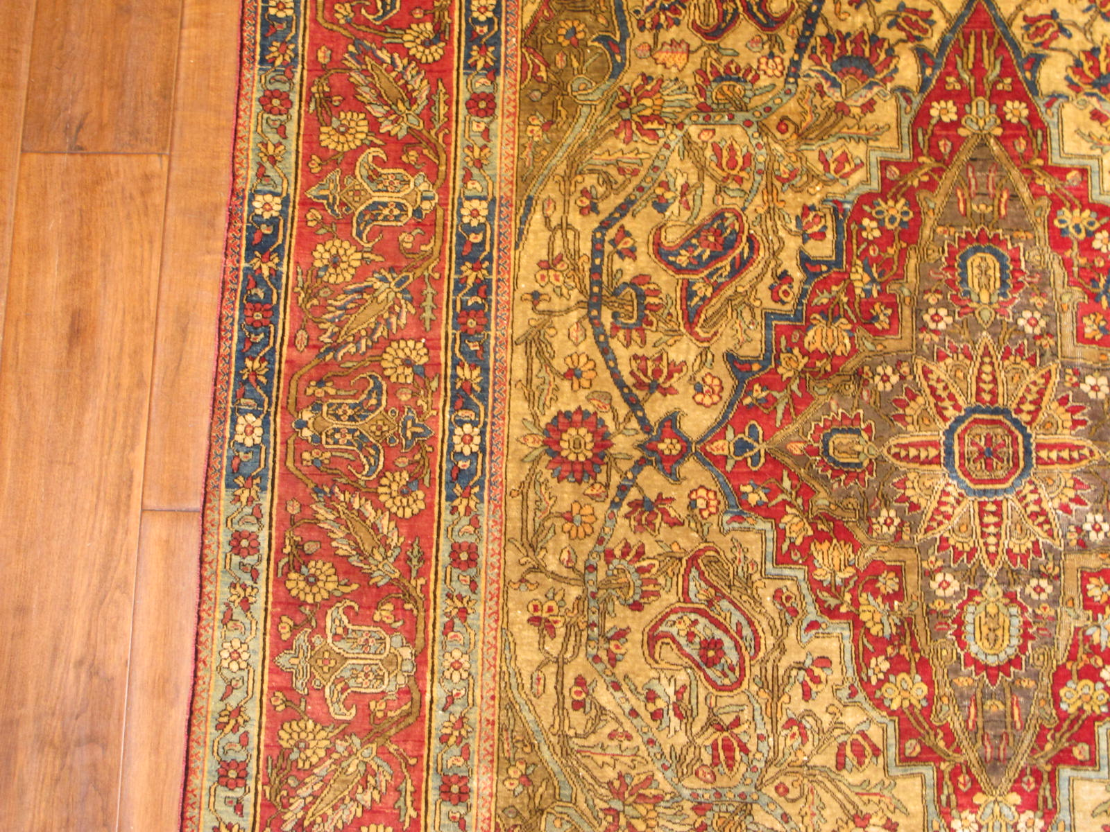 23206 antique persian kashan mohtasham silk rug 4,4 x 7,4 (3)