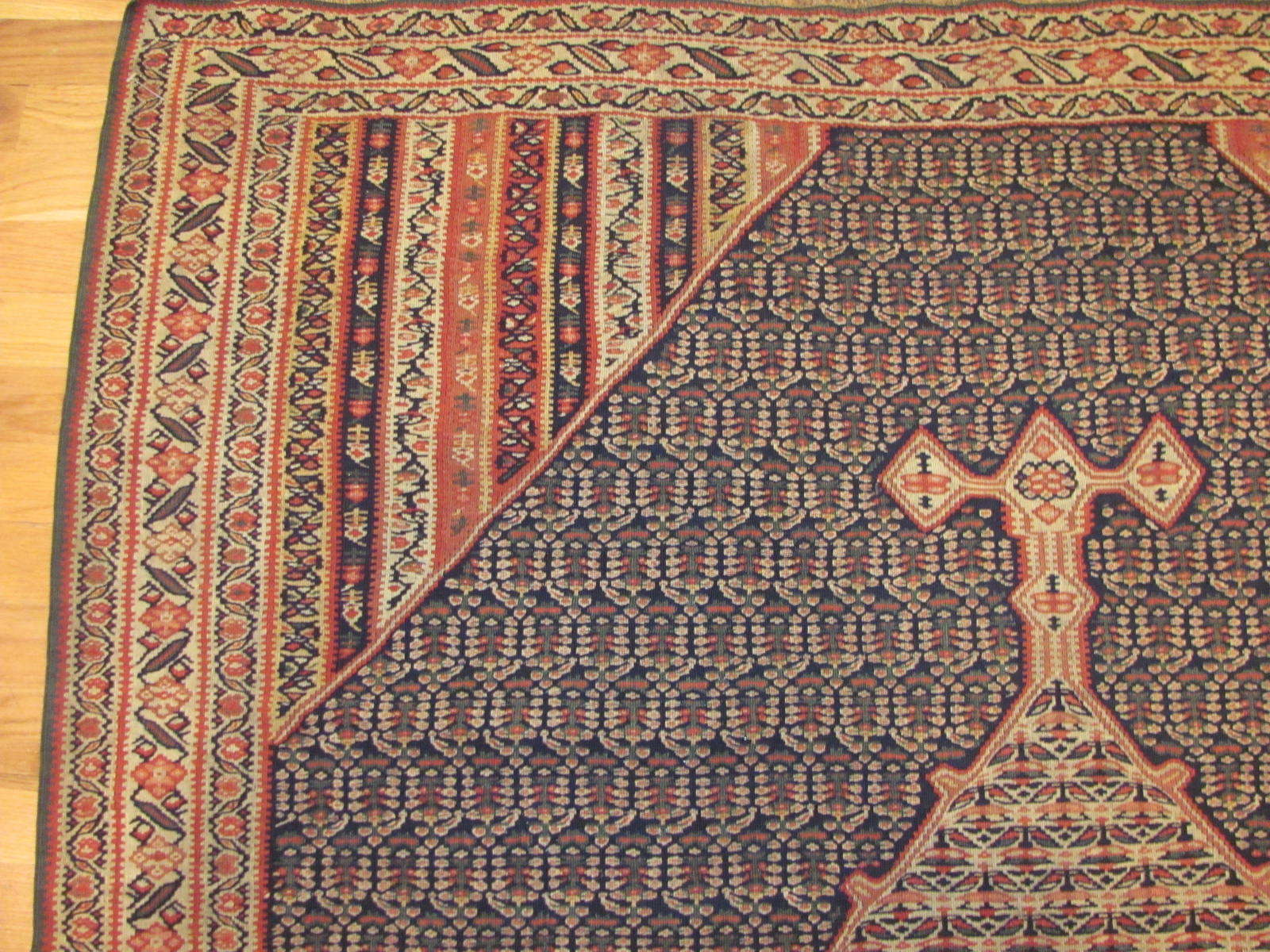 24874 antique persian senneh kilim rug 4,4x6,11-2