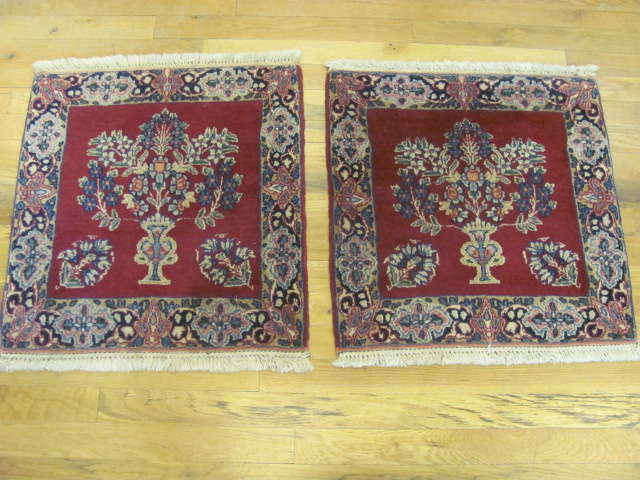 24906 persian kirman mats (pair) silk 1,8 x 1,10
