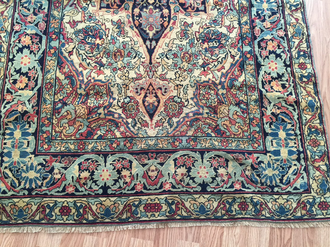 24252 Antique Kirman Lavar rug 3,9 x 6,4-1