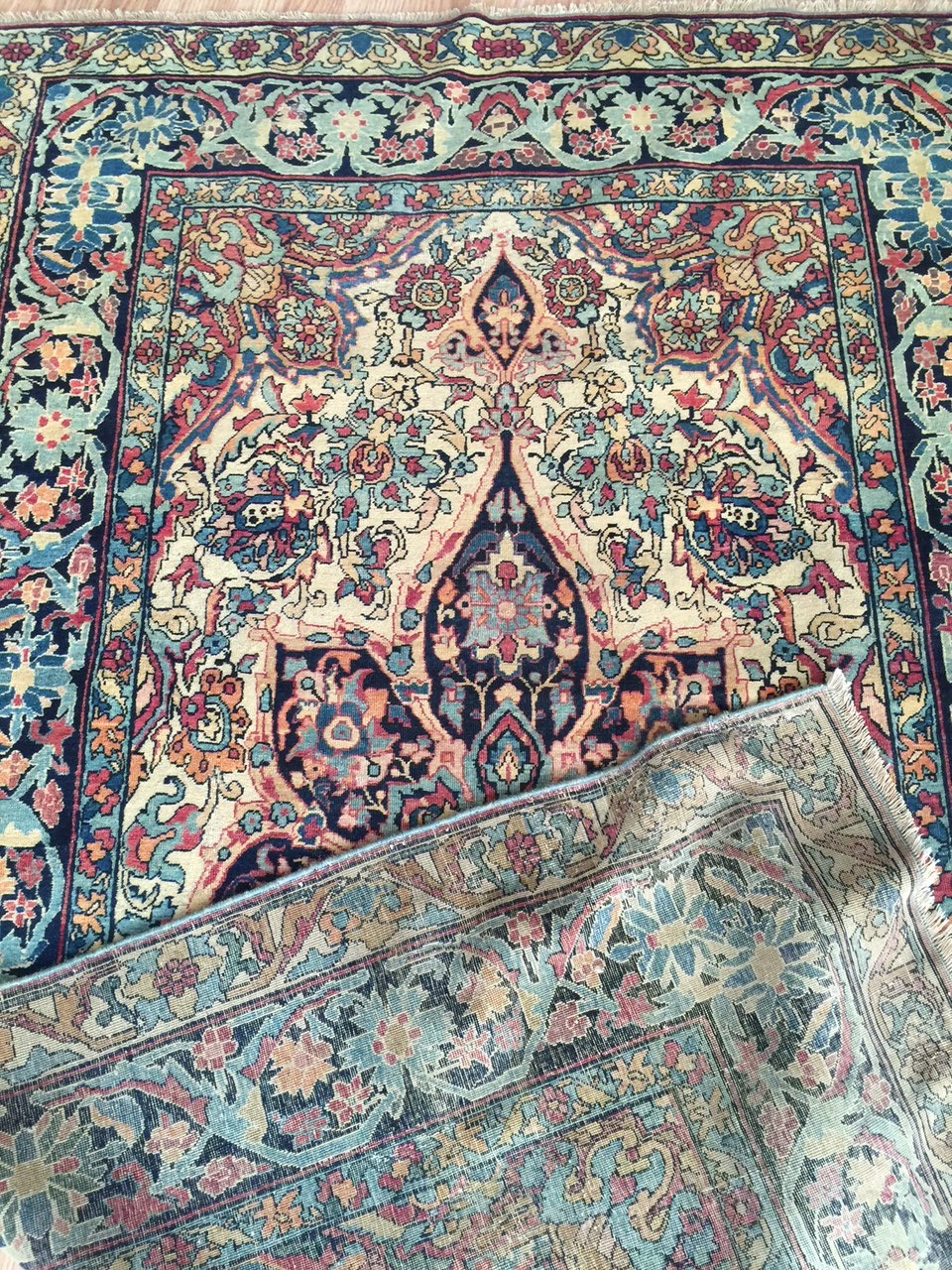 24252 Antique Kirman Lavar rug 3,9 x 6,4-3