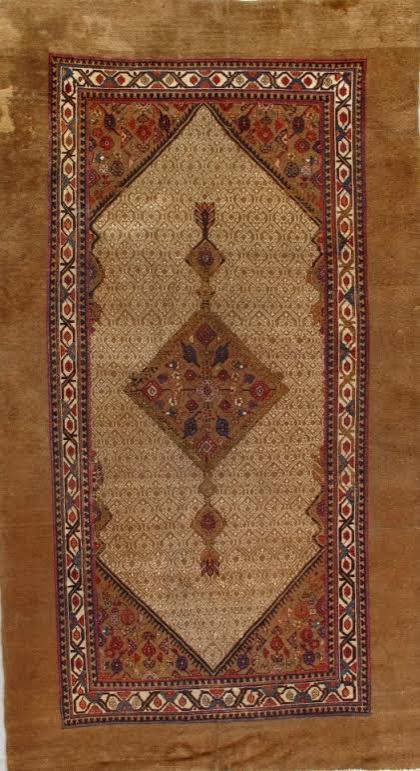 24992 Antique Persian Hamadan camel hair rug 5,10 x 10,6