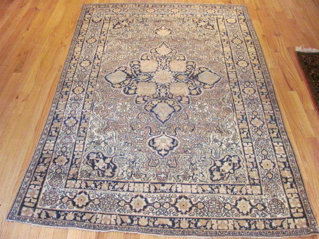 25047 Antique Persian Kirman Lavar rug 4,2 x 6,6