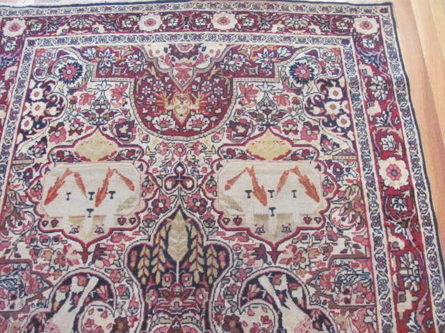 25048 Antique Persian Kirman Lavar rug 4 x 7-1