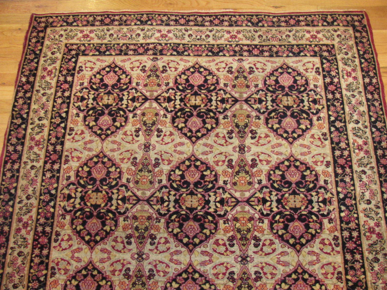 24112 Antique Persian Kirman Lavar rug 4 x 5,10-1