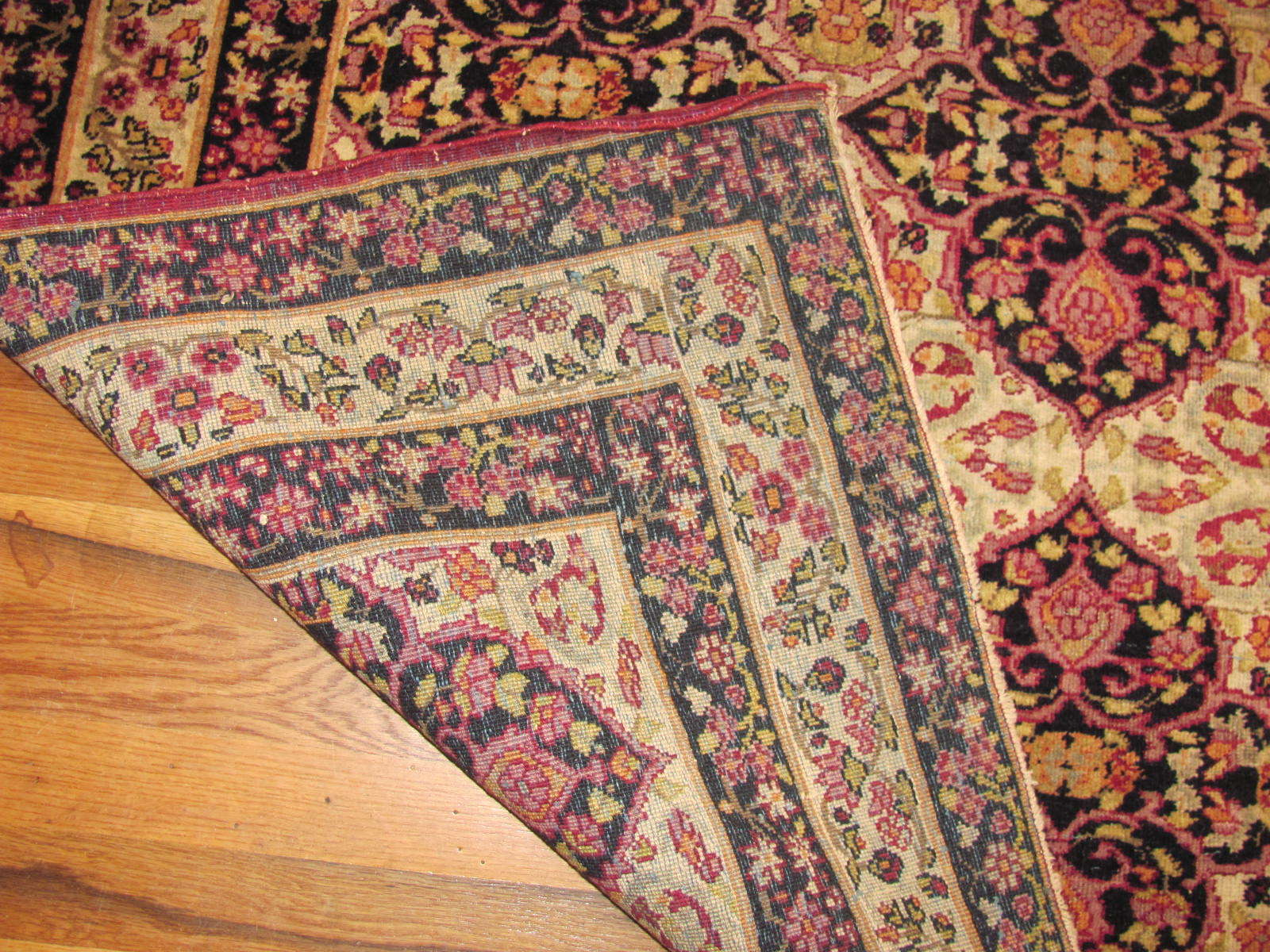 24112 Antique Persian Kirman Lavar rug 4 x 5,10-2