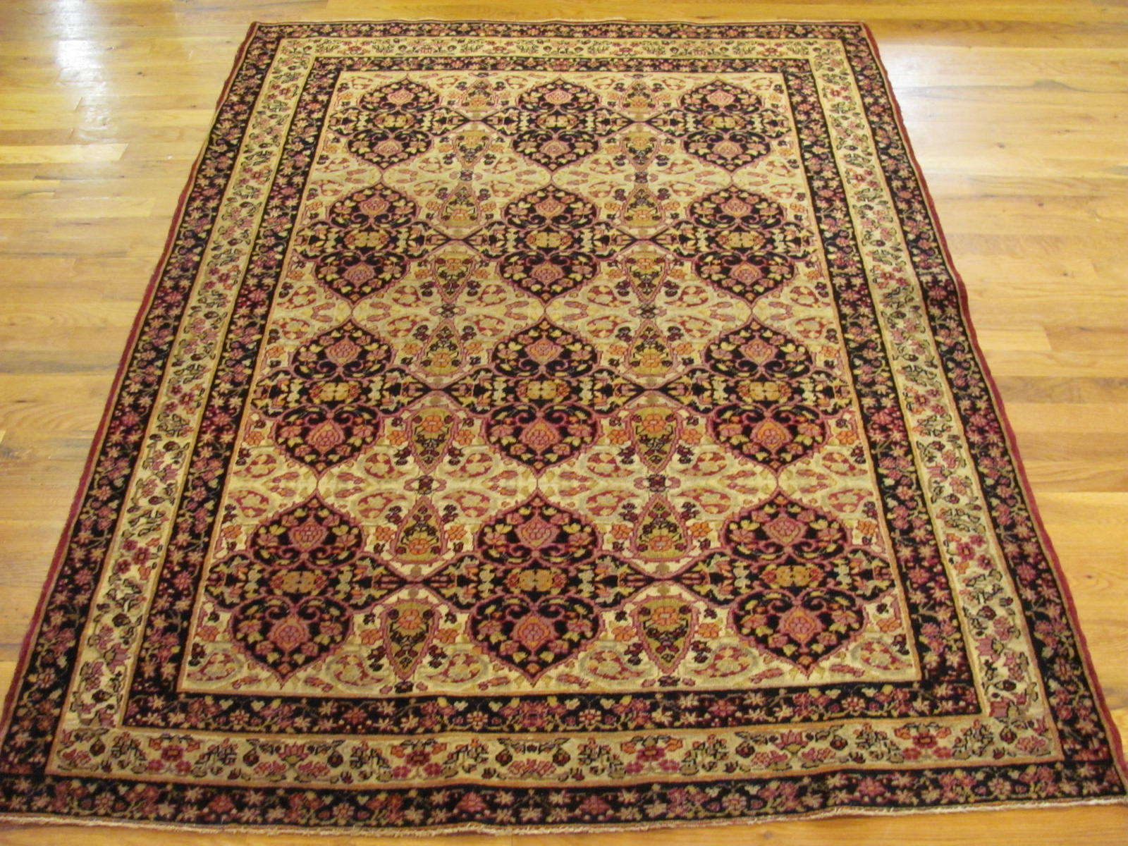 24112 Antique Persian Kirman Lavar rug 4 x 5,10