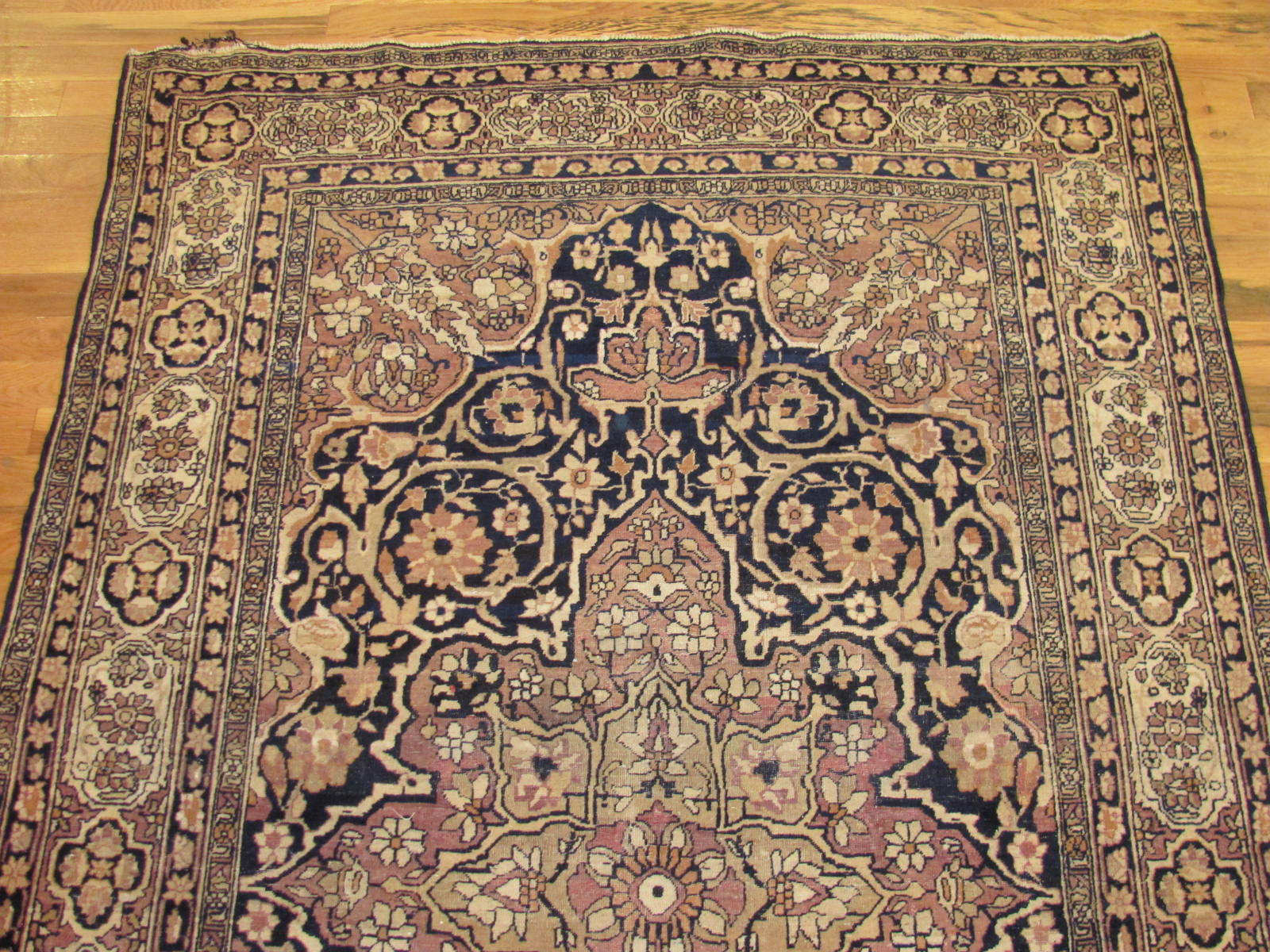25056 antique Persian Kirman Lavar rug 4,4x6,7-1