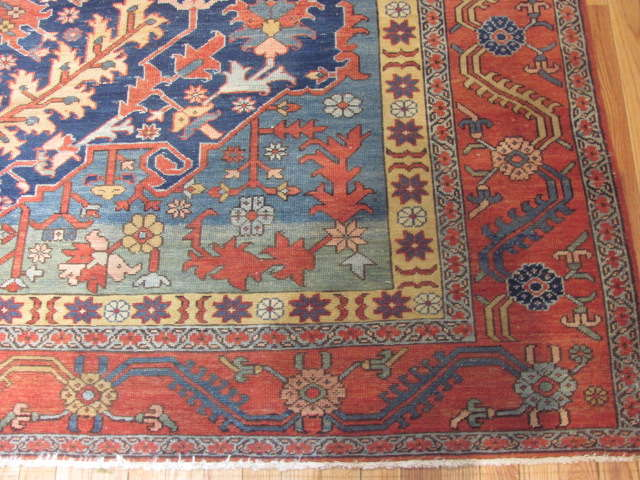 25063 antique Persian Serapi rug 8 x 9,8-2
